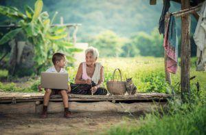 Grandmother, Kid, Laptop