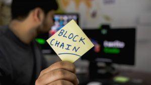 Handwritten Note Showing the Word 'Blockchain'