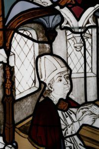 Saint Meditating on the Meaning of Faith - Stained Glass Window