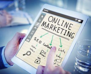 A Tablet Showing the Title Online Marketing