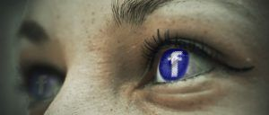 The Facebook Logo Mirrored into a Human Eye