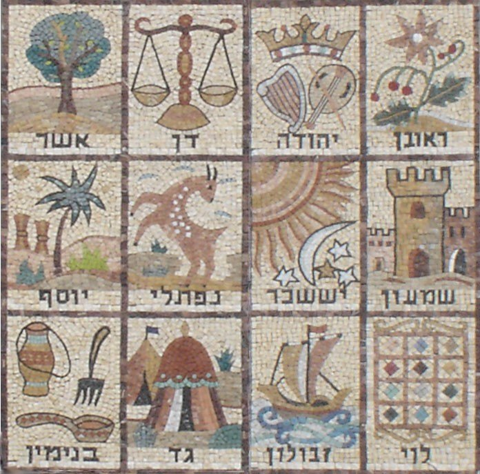 Mosaic of the 12 Tribes of Israel. From Givat Mordechai Etz Yosef synagogue facade, in Jerusalem