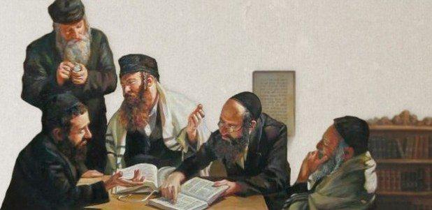 Peinture with Old Jewish Rabbis